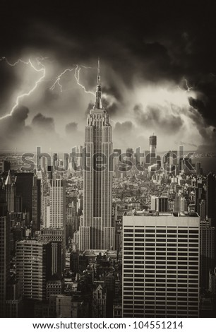 Black and White Skyline of Manhattan with office buildings skyscrapers, U.S.A.