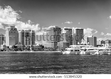 Black and white skyline of West Palm Beach, Florida.