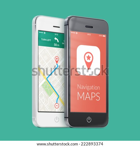 Black and white smartphones with map gps navigation application with planned route on the screen on green. High quality. - stock photo