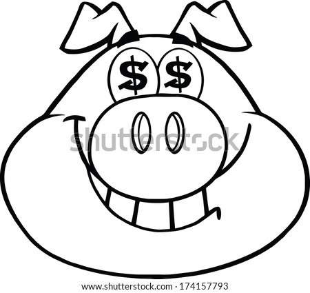 Black And White Smiling Rich Pig Head With Dollar Eyes. Raster Illustration.Vector Version Also Available In Portfolio.