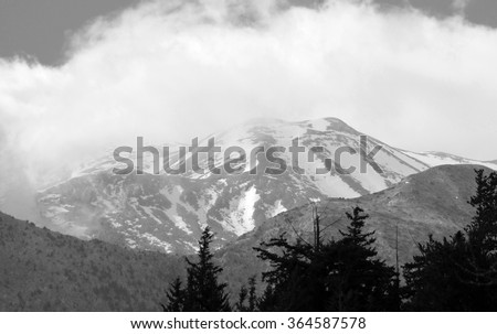 Black and White Snow Covered White Mountains in Crete, Greece - stock photo