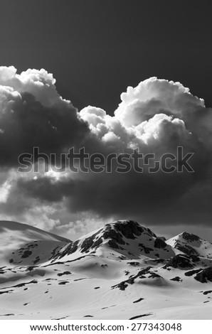 Black and white snow mountains. Turkey, Central Taurus Mountains, Aladaglar (Anti-Taurus), plateau Edigel (Yedi Goller) - stock photo