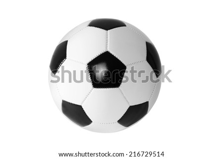 Black and white soccer ball isolated. - stock photo