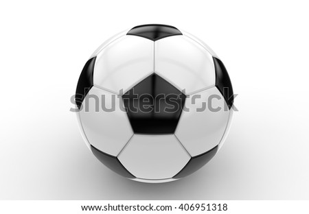 Black and white soccer ball isolated on white background; 3d rendering - stock photo