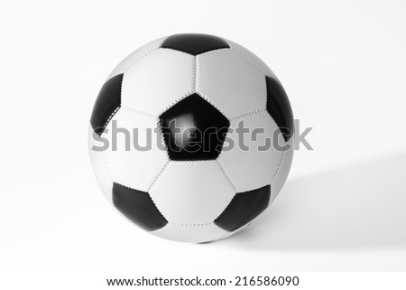 Black and white soccer ball with shadow. - stock photo