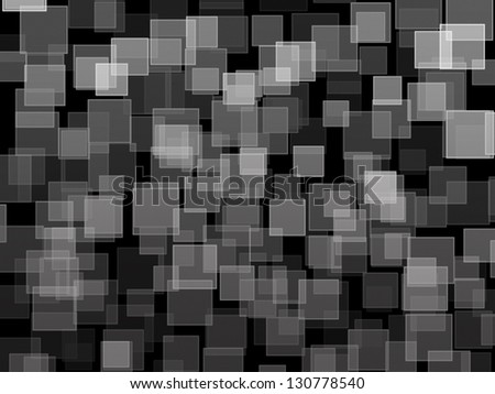 black and white square bokeh on abstract background - stock photo