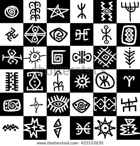 Black and white squares background with ethnic motifs - stock photo