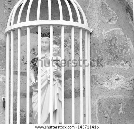 black white statue mary baby jesus stock photo royalty free