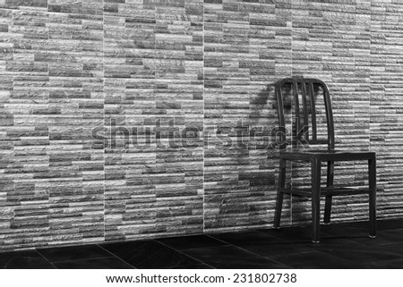 Black and white steel chair vintage the wall My Room.