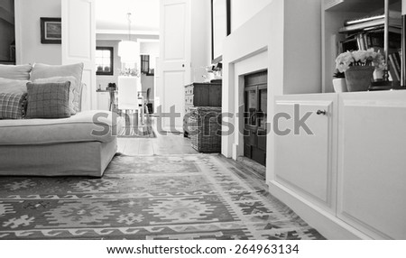 Black and white still life of interior design home living room with a comfortable and welcoming fireplace, white sofa and quality carpets, interior. Aspirational family room, indoors lifestyle. - stock photo