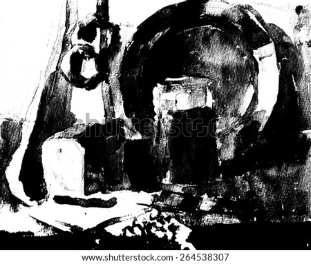 Black and white still life - watercolor