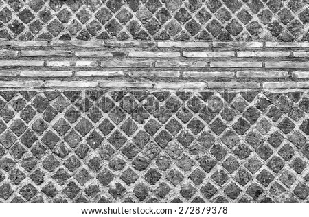 Black and White Stone Brick Wall Texture with copy space, may use as background - stock photo