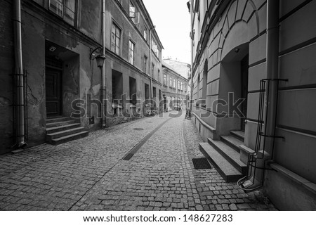 Black and white streets of the old town in Lublin, Poland