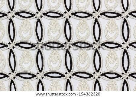 Black and white stripe fabric on white background.