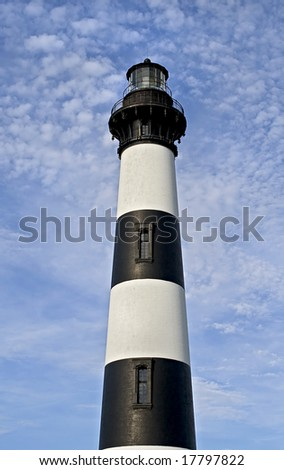 Black and white striped lighthouse located in North Carolina.