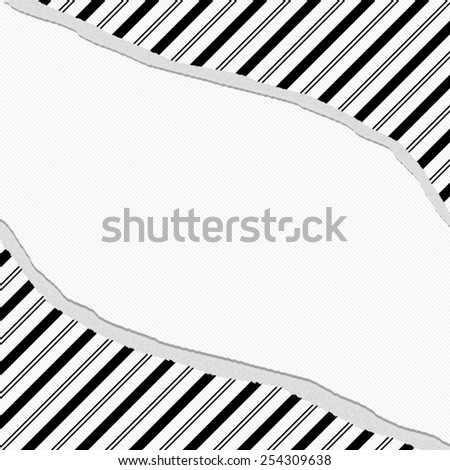 Black and White Striped Torn Background with center for copy-space, Classic Torn Striped Frame - stock photo