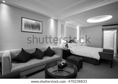 Black and white style - Hotel room or bedroom Interior. hotel concept.