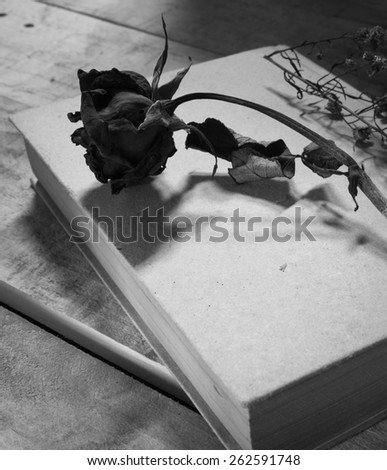 black and white style with rose on notebook