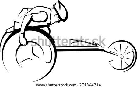 Black and white stylized version of a man racing in a wheelchair racing cycle - stock photo