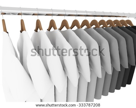 black and white  t-shirts with hangers isolated on white,3d