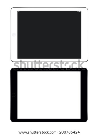Black and white tablet computers - stock photo