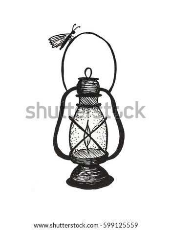 Black And White Tattoo Sketch With Kerosene Lamp, Butterfly And Feather  Drawn In Graphics Technique