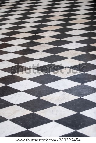 Black and White Tiled floor ( illusion) - stock photo