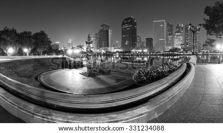 Black and white tone of Large buildings cityscape in Bangkok , Thailand .  - stock photo