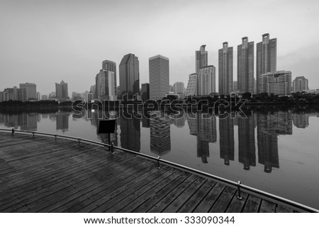 Black and white tone panorama photography of Large buildings cityscape in Bangkok , Thailand .  - stock photo