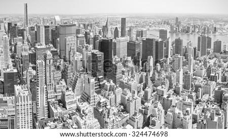 Black and white toned panoramic view of Manhattan, New York City, USA. - stock photo