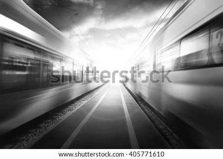 black and white train passage