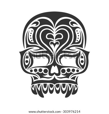 black and white tribal tatoo design of a skull