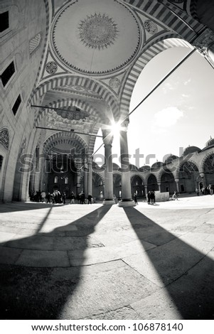 Black and White Turkish Mosque with traditional architecture - stock photo