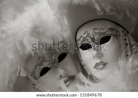 Black and white Venetian carnival mask - stock photo
