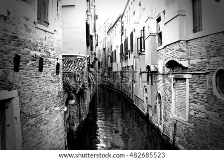 Black and White Venice Italy and its Canals.