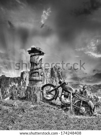 Black and white view of a Old abandoned Motorbike. - stock photo