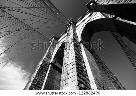 Black and white view of Brooklyn Bridge - stock photo