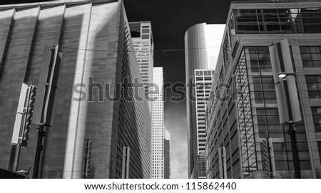 Black and White view of Houston Buildings, Texas - stock photo