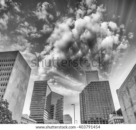 Black and white view of New Orleans at sunset time. - stock photo