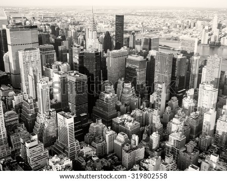 Black and white view of New York City including the Chrysler Building  - stock photo