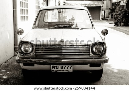 Black and White vintage car / Vintage car / BANGKOK, THAILAND - MARCH 08:Vintage car at local lane on March 08, 2015 in Bangkok Thailand - stock photo