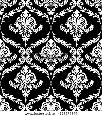 Black and white vintage damask pattern with foliate arabesque elements in a seamless pattern suitable for textile or wallpaper. Vector version also available in gallery - stock photo