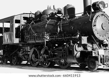 Black And White Vintage Train From Front