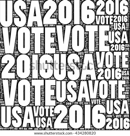 Black and white VOTE USA 2016 sign. - stock photo