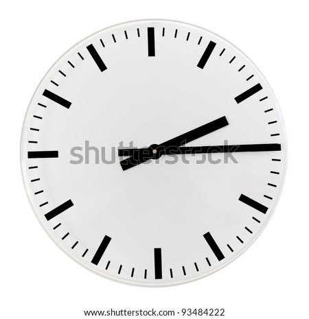Black and white wall clock, quarter past two in the afternoon - stock photo