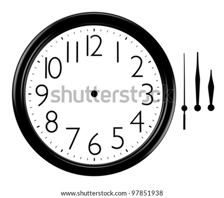 Black and white wall clock with Hands Separated - stock photo