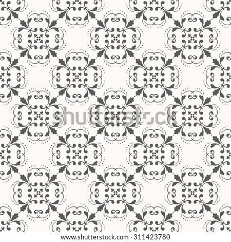 Black and white wallpaper in classic style. Damask pattern. Seamless background. - stock photo
