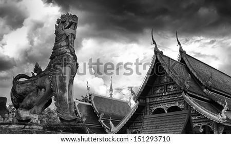 Black and white Wat Chedi Liam at Wiang Kum Kam, Chiangmai Thailand.  - stock photo