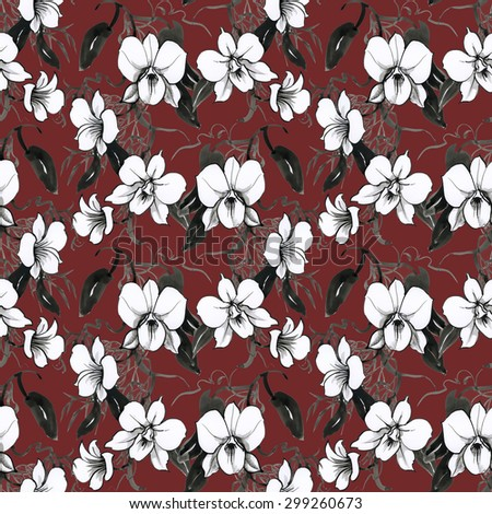 Black and white watercolor floral seamless orchids pattern on brown background