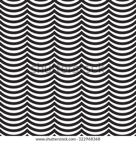 Black and White Wavy Stripes Tile Pattern Repeat Background that is seamless and repeats - stock photo